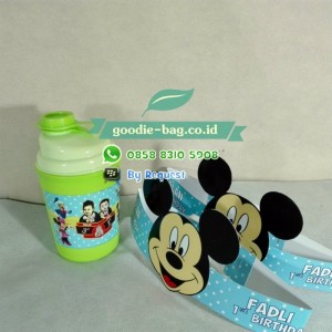 Topi Ultah Souvenir Botol Mickey Mouse